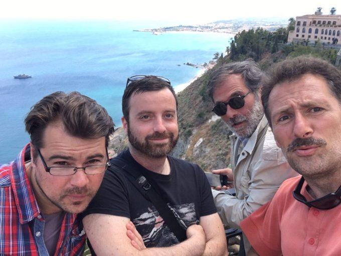 Associated Press Television VJ's and Cameramen in Taormina- Nic Dumitrache, Pietro De Cristofaro, Gianfranco Stara and Paolo Santalucia. Selfie by Paolo Santalucia, May 28, 2017