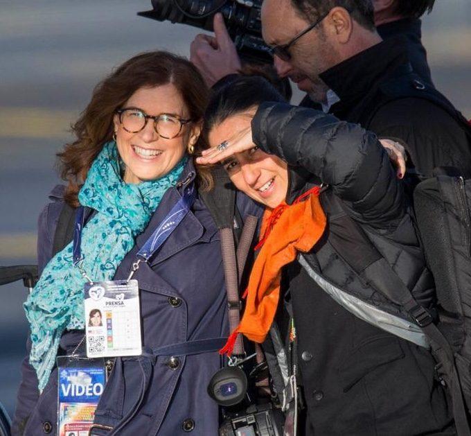 AP's Trisha Thomas and Alessandra Tarantino boarding the Papal Plane in Rome to fly to Panama City. Rome, January 23, 2019. Credit: Remo Casilli
